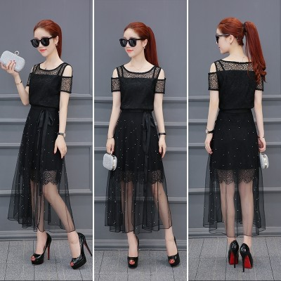 Lace Chiffon Dress Dress summer two piece 2017 new summer dress skirt Korean temperament.