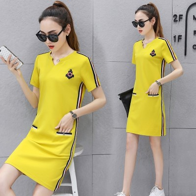 Summer dress, women's summer 2017 new women's length, sports casual casual thin, V collar T-shirt skirt