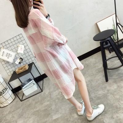 2017 summer new Korean girls long sleeved shirt Plaid sunscreen clothing sunscreen shirt shirt fan Han Students