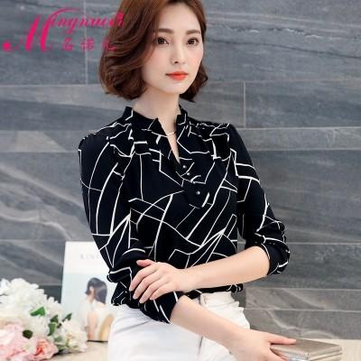2017 new spring Korean female long sleeved chiffon shirt printed shirt short sleeved summer short shirt jacket all-match inch