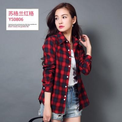 Cotton long sleeved Plaid Shirt female Korean spring leisure self-cultivation shirt size student shirt coat sanding