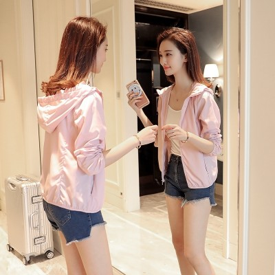new summer sun protection clothing female hooded short thin air student outdoor beach all-match long sleeved jacket