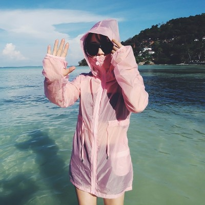 2017 new summer sun protection clothing female pure sunscreen clothing girls long ultra-thin breathable sunscreen shirt female coat