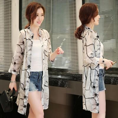 Sunscreen clothing Long Beach 2017 New Girls Summer Chiffon cardigan sweater shawl all-match printing a thin coat of air conditioning