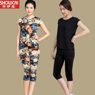 The elderly ladies summer mother suit short sleeved shirt seven pants size sport middle-aged two piece