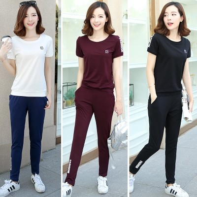 Sportswear suit all 2017 new Korean women's two piece tide summer summer fashion leisure suit