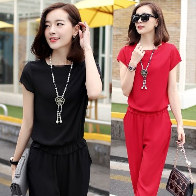 Female 2017 female Chiffon suit summer summer new Korean two dress casual summer fashion tide
