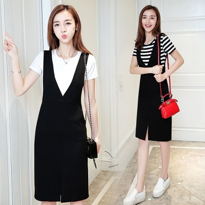The summer of 2017 Korean new V collar dress slim slim down in the long skirt bag hip skirt suit female T-shirt two