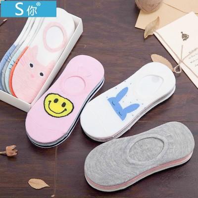 Socks, ladies, socks, socks, low cotton, summer thin, shallow Korean invisible socks, silicone slip, cute