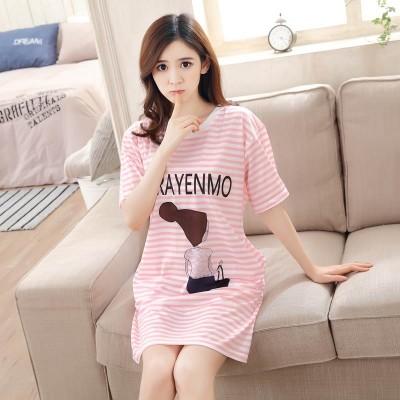 Ladies summer Nightgown Pajamas cotton short sleeved summer fresh Korean women students sweet loose dress
