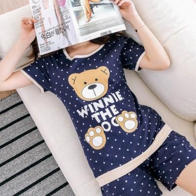 Pajamas female summer cotton short sleeve shorts, summer ladies leisure loose two sets, summer cotton suit suit