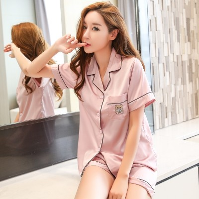 Female sexy silk pajamas summer shirt pants two suit thin loose clothing Home Furnishing summer ice.