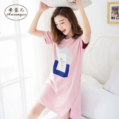 Korean female summer summer Nightgown Pajamas cotton short sleeved casual fashion students can wear loose cotton clothing Home Furnishing