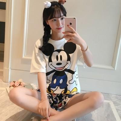 Summer pajamas, summer suit, short sleeve home wear, female Korean Summer Edition, cartoon girl cotton pajamas two sets