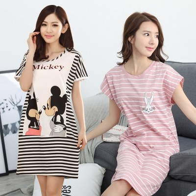 Welcome new summer bird lady cotton Nightgown striped summer woman cartoon cotton pajamas Home Furnishing suit