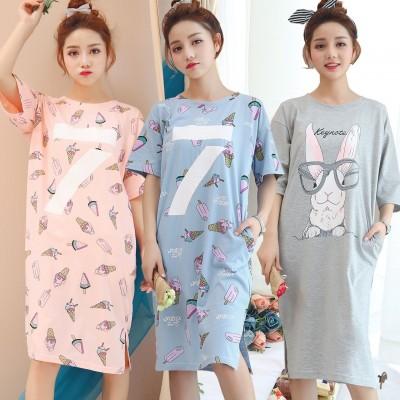 Sweet summer Nightgown Pajamas female Korean cartoon Home Furnishing wear cotton nightdress home girl students