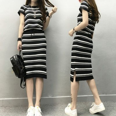 Europe 2017 summer new European goods thin silk short sleeved knit striped suit dress two piece tide