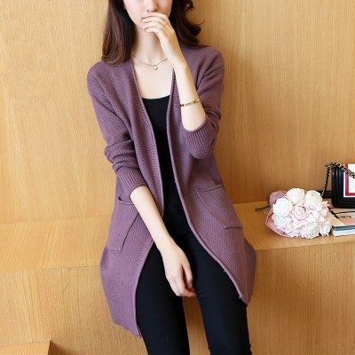 In the long sweater cardigan female Korean spring 2017 new women's sweater slim jackets spring tide