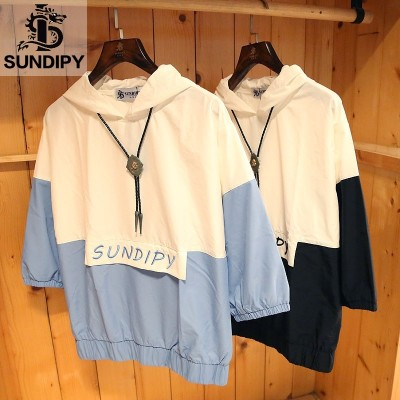 Sundipy summer hooded short sleeved men's five point sleeve leisure youth, Japan and South Korea tide men's color summer T-shirt