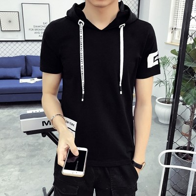 The summer male hooded men's T-shirt Sweater Hoodie Hat Cotton tide sleeveless sweater semi thin