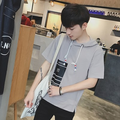 Short sleeved Hoodie sleeve head loose T-shirt with the trend of male young students in spring and summer clothing hoodie coat