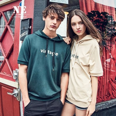 The summer half drow Korean couples dress sleeve loose hooded short sleeved T-shirt male British Hoodie sweater tide brand
