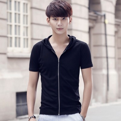 Summer wear short sleeved T-shirt male hooded cotton color simple clothes slim half sleeve zipper cardigan casual tide