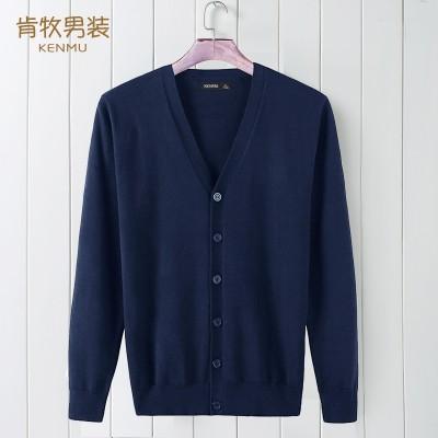 Ken and spring men men sweater knit cardigan sweater coat thin collar sweater size V slim.