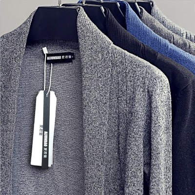Spring and autumn sweater cardigan collar man V thin sweater Korean tide long coat sweater slim sweater