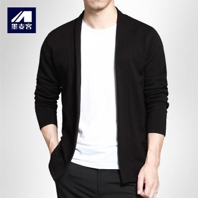 Mack Mens Casual cardigan ink new spring men's sweater sweater slim Korean coat thin male tide
