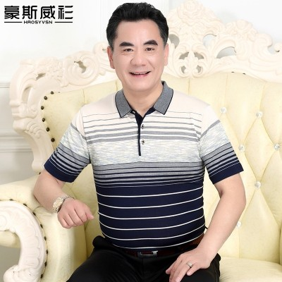 The elderly men's shirt sweater Polo father put summer middle-aged male short sleeved T-shirt grandpa clothes