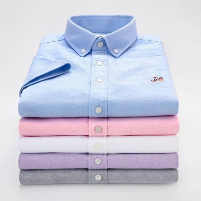 European Paul men's short sleeve shirt, summer white casual comfortable shirt, cotton Oxford slim color sweater