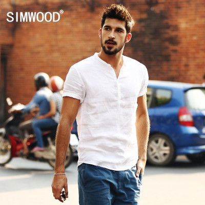 Simwood Jane wood men's summer style casual men's slim linen shirt, pure white shirt