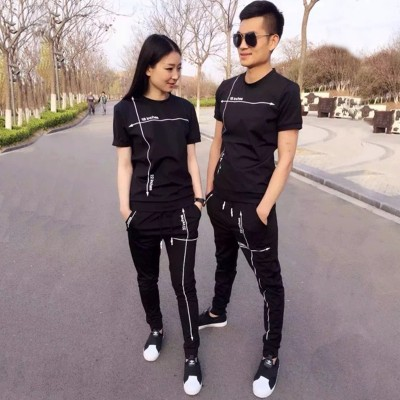 Casual sports suit, men's thin fashion, Korean version, summer lovers, slim, short sleeve, T-shirt, trousers, two sets