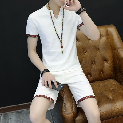 Short sleeved linen suit sportswear men's casual suits summer trend of Korean two sets of summer 2017