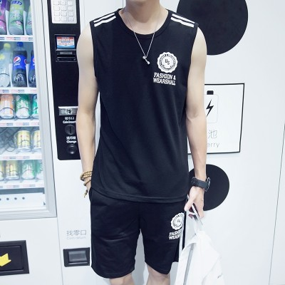 Summer sports suit, men's short sleeve shorts, two sets of casual men's T-shirts, teenagers' thin running clothes, vests