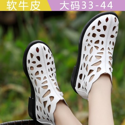 2017 yards of shoes in summer 41-43 new all-match leather boots with flat round hole hollow flat