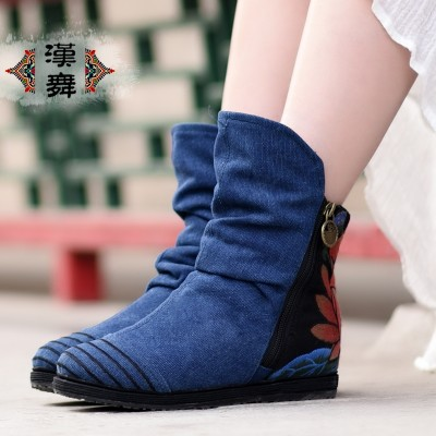 Chinese dance folk style shoes embroidered cloth boots autumn short side zipper fold all-match embroidery boots pure sandalwood