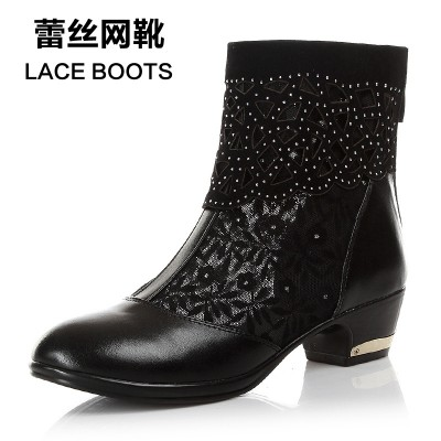 2017 new spring hollow cool summer fish mouth shoes leather boots with thick gauze with net boots female fashion boots