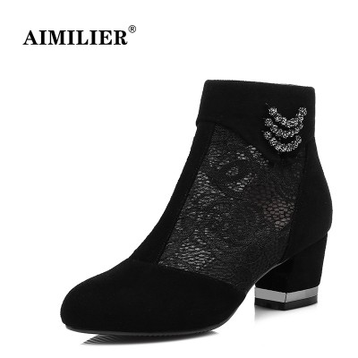 Frosted leather sandals boots boots boots size net female boots boots in the women's singles in the spring and autumn gauze thick with hollowed out shoes