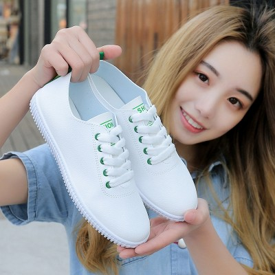 White shoes spring summer  new all-match shoes Korean students flat shoes casual shoes sports shoes shoes