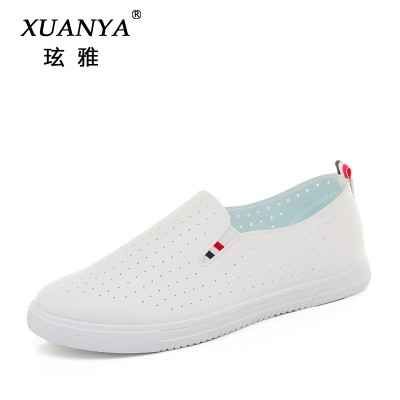 2017 new canvas shoes female summer flat white shoe leather breathable lazy female student pedal shoes.