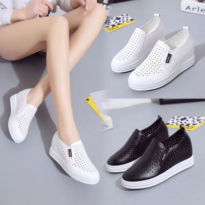 Hollow white shoe shoes in a thick soled shoes breathable shoes all-match increased 2017 new spring and summer