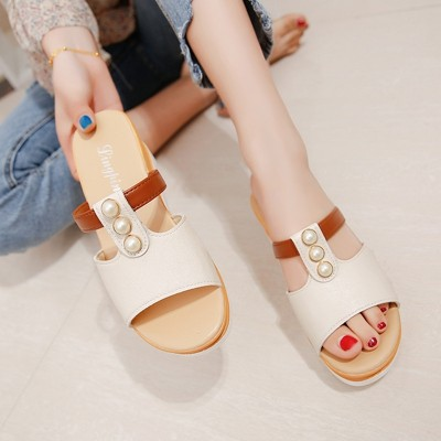 2017 new all-match fish mouth with a thick bottom slope. Drag high-heeled sandals slippers muffin pearl female summer