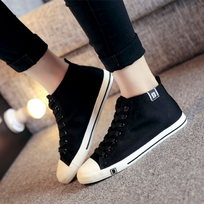People's edition in spring and summer, men's high support canvas shoes, leisure sports shoes, black men and women board shoes, flat bottom