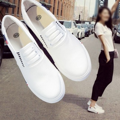 In summer 2017 canvas shoes casual shoes shoes slip on loafer flat white shoe all-match Korean Students