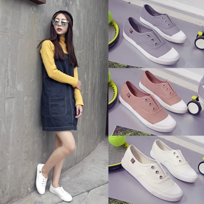 White canvas shoes shoes summer all-match Korean female student pedal shoes with flat loafer shoes and shoes