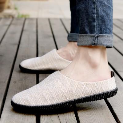 Summer men's shoes, linen slippers, men's casual men's sandals, Baotou lazy shoes, breathable Korean version, cool mop, half slippers