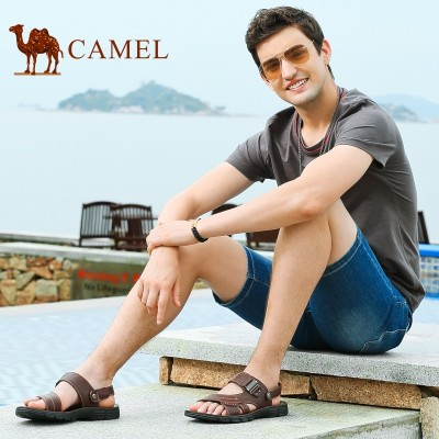 Camel/ camel sandals, men's 2017 summer style new leather toe beach shoes, leather casual men's cool slippers