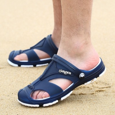 Hole shoes, men, Baotou slippers, summer ventilation cool mop, thick bottom anti-skid beach shoes, tide men's cold slippers, Korean sandals
